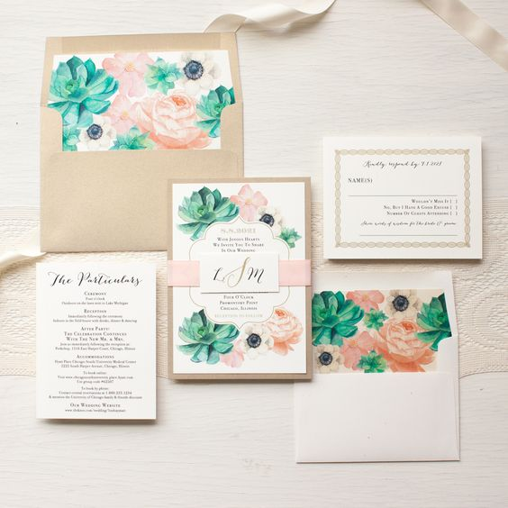 blush flowers, succulents and neutral envelopes