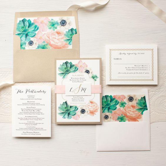 blush flowers, succulents and neutral envelopes