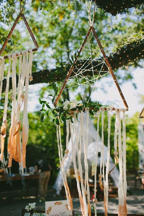 copper triangle dream catchers with greenery and ombre hangings
