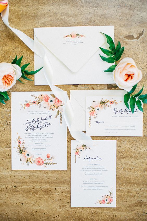 cute floral wedding stationary is a traditional choice for a summer wedding