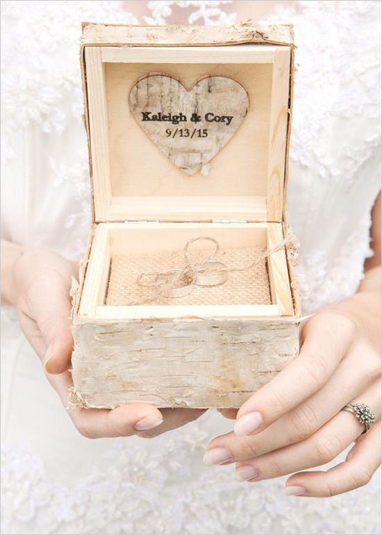 wood birch wedding ring box with burlap inside