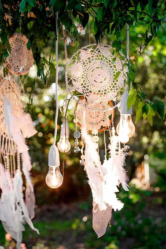 crochet lace dream catchers with feathers and bulbs for summer boho decor