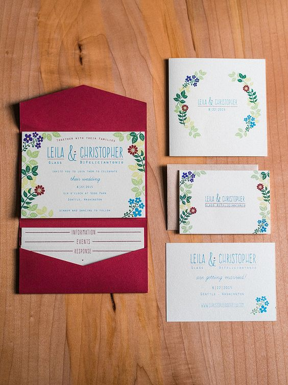 cute summer invites with flower prints and red envelopes