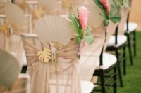 19 neutral fabric, wooden palm leaves and bold flowers