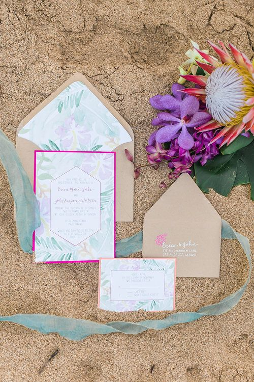 pastel watercolor wedding stationary and kraft envelopes