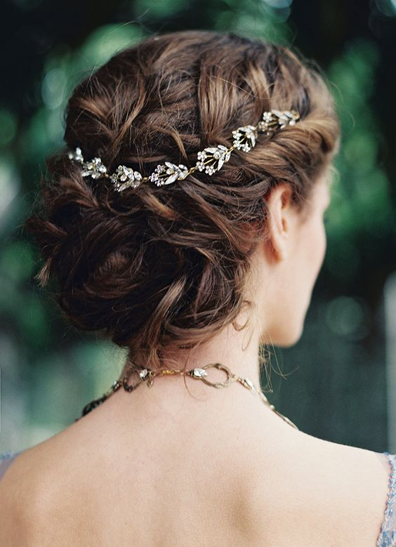 softly swept wedding hair with a delicate crystal hair vine
