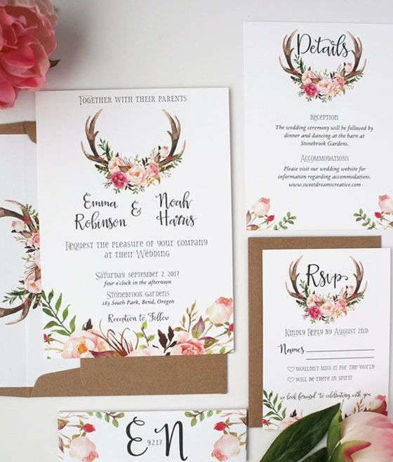 flower and antlers wedding invitations and kraft paper envelopes
