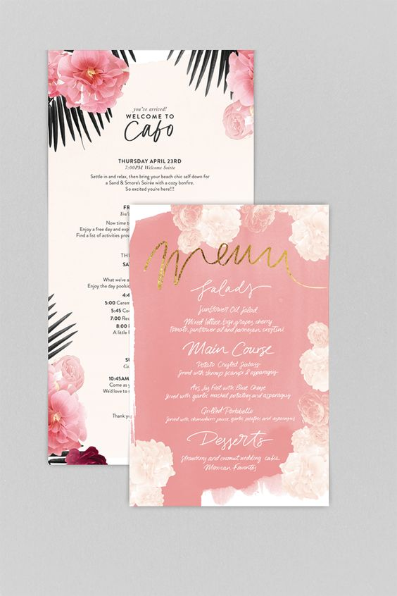 pink and ivory wedding stationary for a romantic wedding