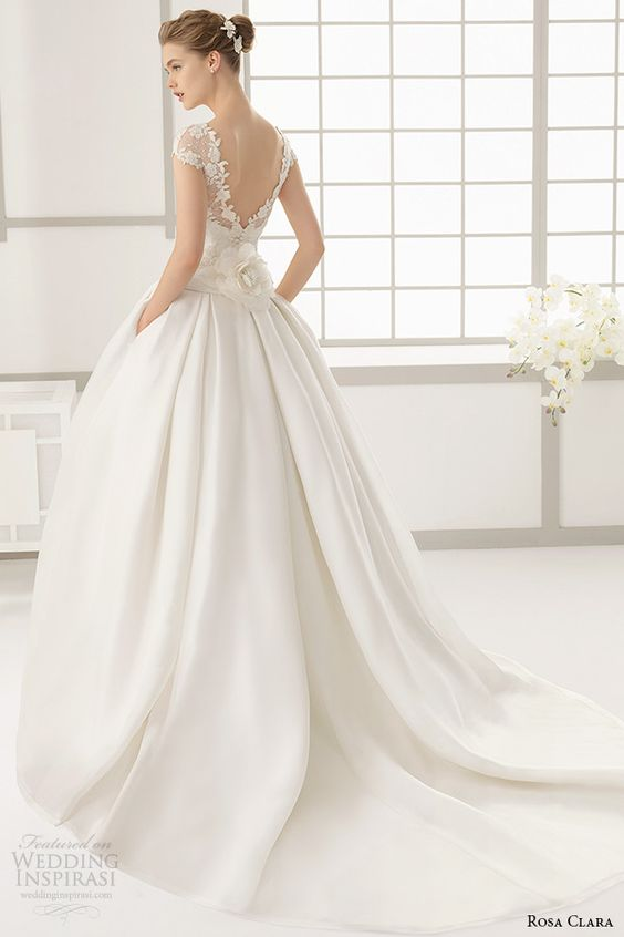 short sleeves wedding ball gown with pockets and a V cut low back