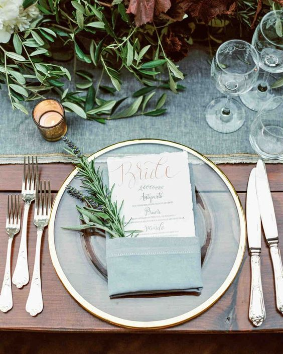 a clear, gold rim plates set with menus doubling as place cards graced each seat, olive green shades