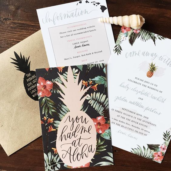 a pineapple on bold backdrop and pineapple prints for other stationary