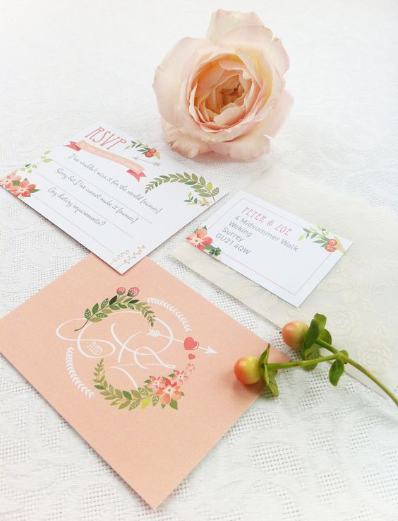 flower and citrus wedding stationary in peachy shades