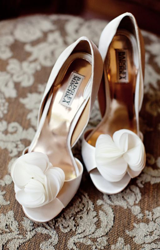 ivory heels with fabric flower decor
