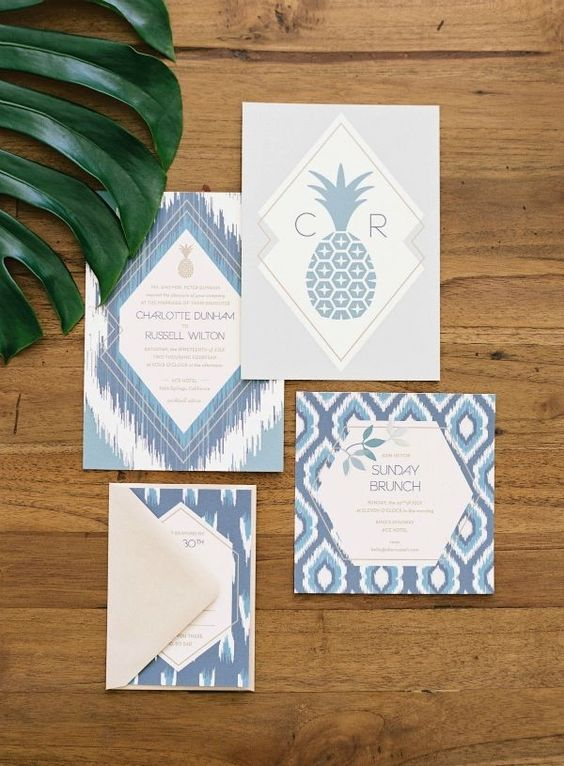 boho blue print wedidng stationary with pineapple prints