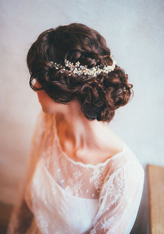braided updo with a blush and gold bead hair vine