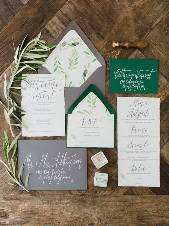 olive grove inspired wedding invites in green and grey