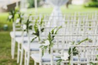 23 tropical greenery and white flower chair markers
