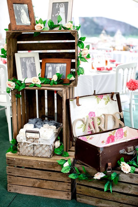vintage suitcase with floral lining and wooden letters