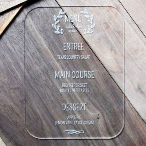 laser engraved clear acrylic wedding menu