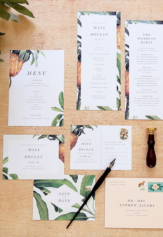 pineapples and banana leaves wedding stationary