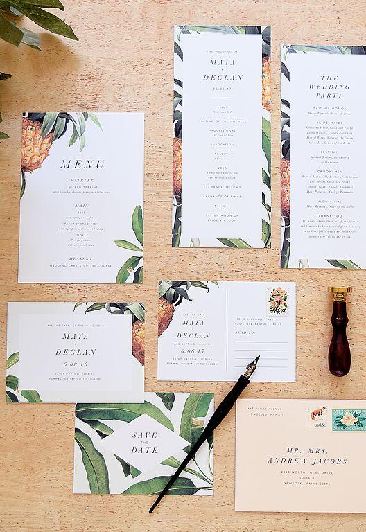 pineapples and banana leaves wedding stationary
