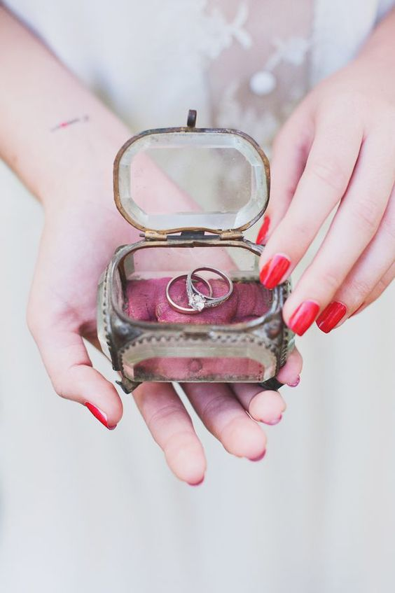 vintage glass and metal ring box with flower petals