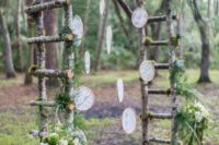 25 birch branch arch with greenery and lace dream catchers fits a boho woodland wedding