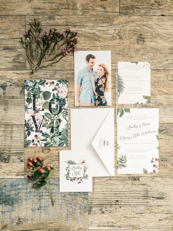 botanical inspired wedding invitation suite is perfect for summer