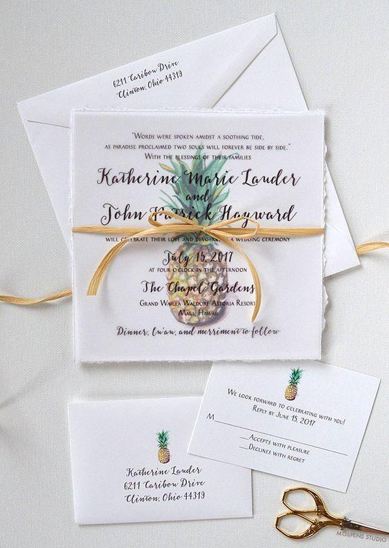 modern watercolor pineapple wedding stationary