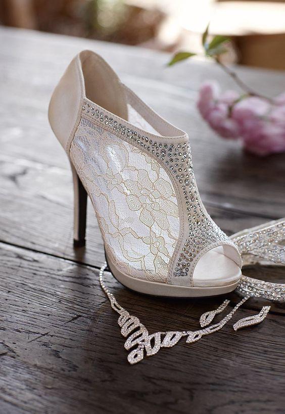 peep toe lace and rhinestone wedding booties