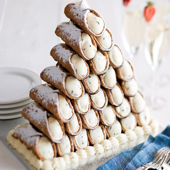 cannoli tower instead of a traditional wedding cake