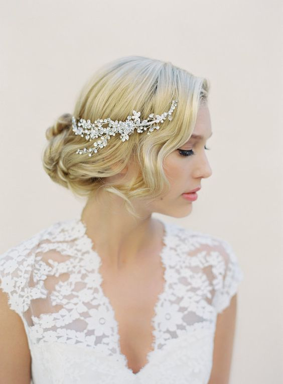 knot updo with a sparkling crystal hair vine