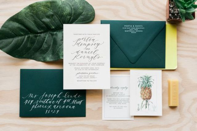26 palm tree leaves, pineapple print wedding stationary, emerald envelopes