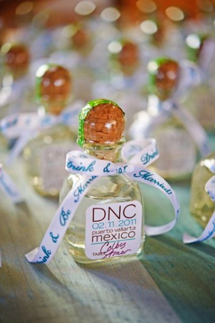 tequila wedding favors for a destination wedding in Mexico
