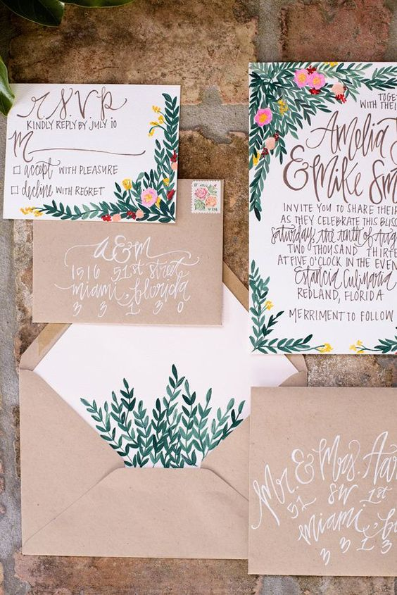 watercolor botanical and flower prints and kraft envelopes