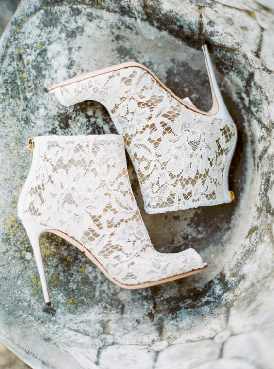 white lace peep toe booties will highlight your unique style