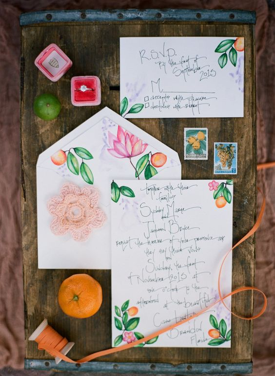 citrus and flower wedding stationary for a bold summer wedding