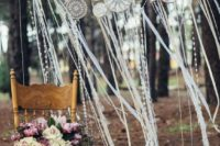 27 crochet dreamcatcher wedding backdrop with ribbons
