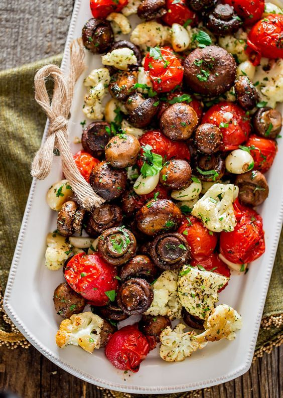roasted veggies and mushrooms for a traditional Italian table