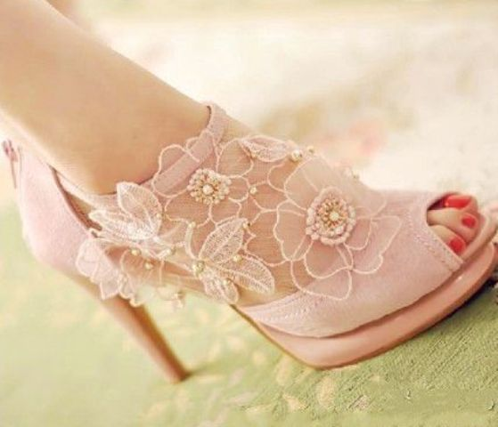 vintage inspired pink flower lace applique boots with a peep toe