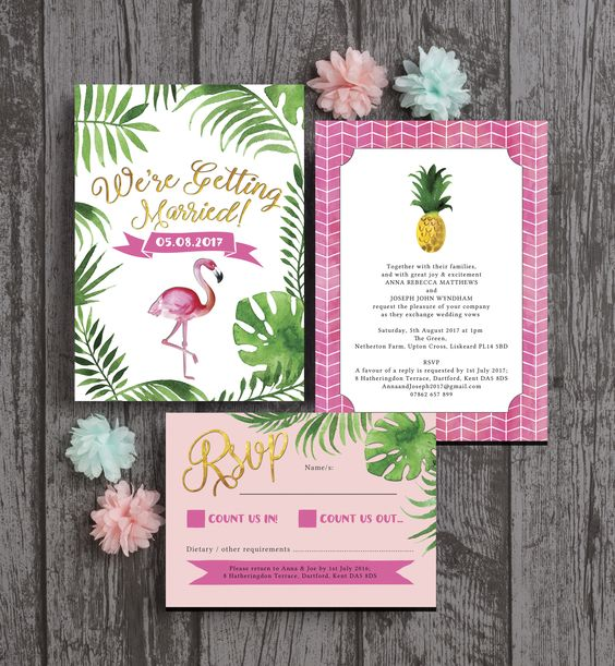 bright and beautiful tropical themed flamingo wedding stationery