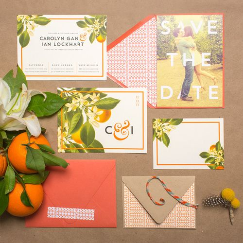 orange grove inspired bold wedding stationary set