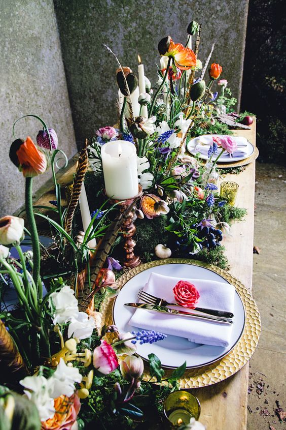 summer boho garden wedding table with moss and lush florals