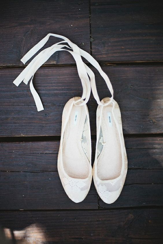 4ac0e6ee6eb Picture Of lace up flats made of ivory lace