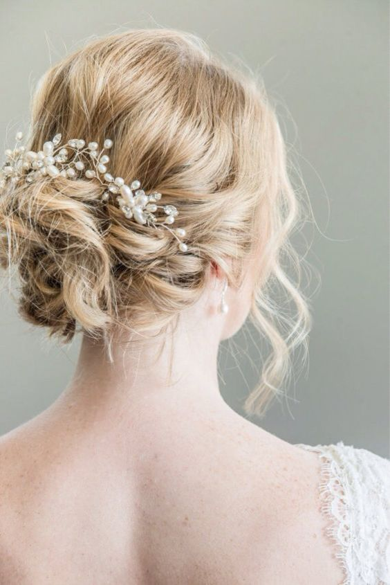 pearl and bling bridal hair vine on a messy updo