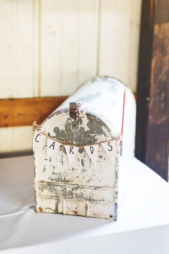 shabby mailbox with a small bunting