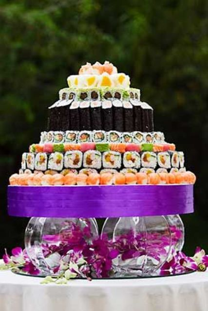 sushi tower on glass jars