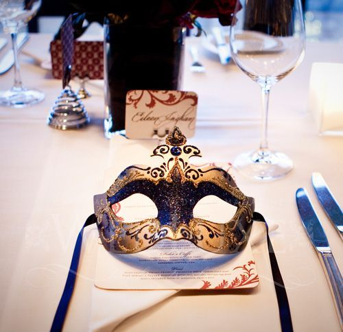 use masks for marking every place setting or for holding menus