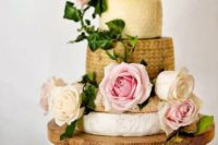 29 vintage romantic wedding cheese tower on a wooden plate and fresh roses