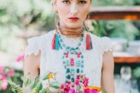 30 bridal look inspired by traditional Mexican costumes, bold florals and accessories